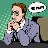 Businessman says NO WAY. Pop art illustration - businessman says NO WAY in retro comic style Royalty Free Stock Photography