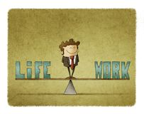 Businessman on a scale in which are the words work and life Stock Image
