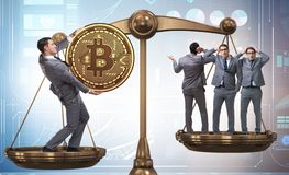 Businessman on scales with bitcoins and other businessmen. The businessman on scales with bitcoins and other businessmen royalty free stock photos