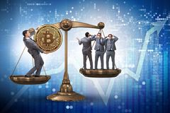 The businessman on scales with bitcoins and other businessmen. Businessman on scales with bitcoins and other businessmen royalty free stock photo