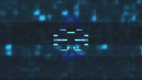 Lock symbol glitch screen distortion holographic display animation seamless loop sybersequrity background new quality royalty free illustration