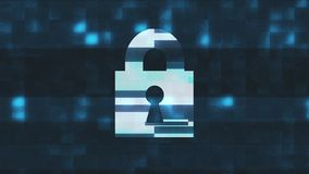 Lock symbol glitch screen distortion holographic display animation seamless loop sybersequrity background new quality vector illustration