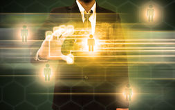 Businessman scanning of a finger on a touch screen interface Royalty Free Stock Images