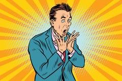 Businessman scared, shock reaction royalty free illustration