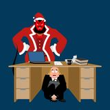 Businessman scared under table of Krampus. frightened business m Stock Photos
