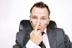 Businessman. Sceptical or interested. Royalty Free Stock Images
