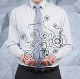 Businessman scheme Stock Photo
