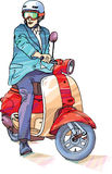 Businessman on the scooter Royalty Free Stock Photography