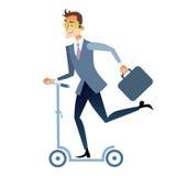 Businessman scooter rides to work. Businessman in suit on the scooter rides to work Stock Images