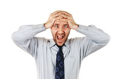 Businessman screaming royalty free stock photos