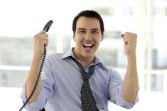 Successful Businessman screaming at camera Royalty Free Stock Photo