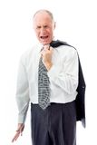 Businessman screaming in frustration isolated on white backgroun Stock Photos