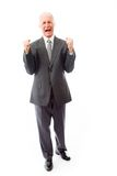 Businessman screaming in frustration isolated on white backgroun Stock Images