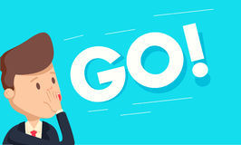 Businessman screaming GO and flapping up his hand. Concept of motivation stock illustration