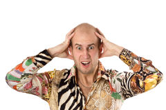 Businessman screaming with hands on head. Isolated over white Stock Photos