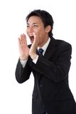 Businessman screaming loudly Royalty Free Stock Photo