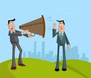 Businessman screaming with megaphone. This is file of EPS10 format Royalty Free Stock Image