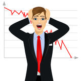 Businessman screaming mouth open Stock Photo