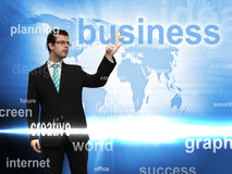 Businessman and screen Stock Photography