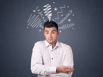 Businessman with scribbles Stock Photo