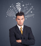 Businessman with scribbles Stock Images
