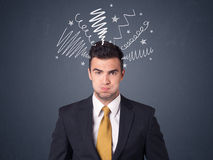 Businessman with scribbles Royalty Free Stock Photos