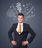 Businessman with scribbles Stock Photography