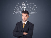 Businessman with scribbles Stock Photos