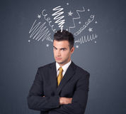Businessman with scribbles Stock Image