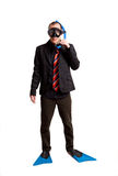 Businessman with a scuba mask Stock Image
