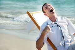 Businessman on sea background Stock Images