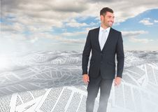 Businessman in sea of documents under sky clouds. Digital composite of Businessman in sea of documents under sky clouds Royalty Free Stock Photos