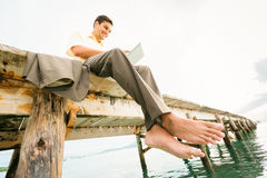 Businessman By The Sea Royalty Free Stock Photos