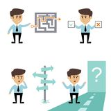 Businessman search decision. Concept with man with labyrinth puzzle and crossroads vector illustration Stock Images