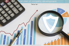 Businessman search loupe magnifier shield security virus web chart Royalty Free Stock Photos