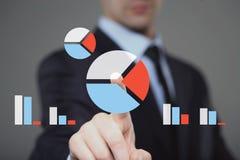 Businessman search loupe magnifier web chart diagram button Stock Images