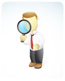 Businessman Searching. Vector illustration of a businessman is searching something by holding a magnifying glass Stock Photography