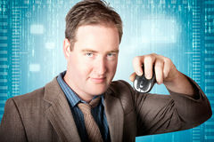 Businessman searching internet with wireless mouse Royalty Free Stock Photo