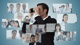 Businessman searching for new employees. Digital animation of Businessman searching for new employees stock footage