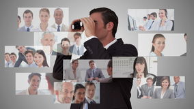 Businessman searching for new employees stock video footage