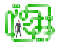 Businessman searching for the right way out. Doubting businessman selecting the best solution. The complexity of the decision-making. Concept business vector Royalty Free Stock Photos