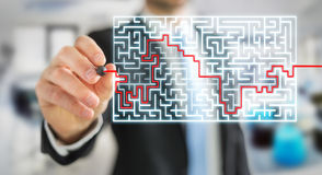 Businessman searching solution of a complicated maze Royalty Free Stock Image