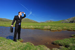 A businessman searching for a way Stock Images