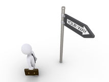 Businessman is searching for the way. 3d businessman is looking up at sign to find his path Royalty Free Stock Image