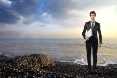Businessman in a seascape Royalty Free Stock Photography
