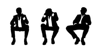 Businessman seated in the armchair silhouettes set 2 Royalty Free Stock Image