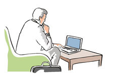 Businessman seated with laptop. Illustration of a businessman with a computer stock illustration