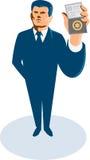 Businessman Secret Agent ID Card Badge Wallet. Illustration of a businessman secret agent standing showing id card badge wallet facing front viewed from high vector illustration