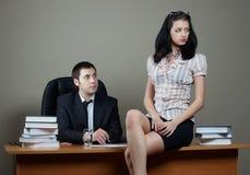Businessman with secretary. Businessman with beauty secretary in office stock photos