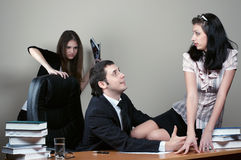 Businessman with secretary. Businessman with beauty secretary in office royalty free stock photos